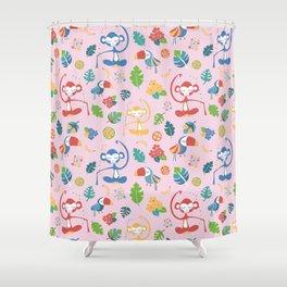 Meditating Yoga Jungle Animals Pink Shower Curtain