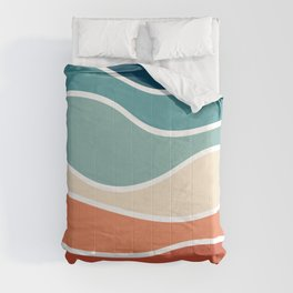 Colorful retro style waves Comforters