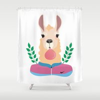 lama Shower Curtains featuring Sport Lama by Holanes