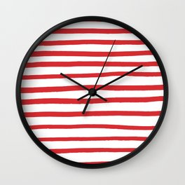 Red hand drawn stripes Wall Clock