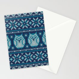 Owls winter knitted pattern Stationery Cards