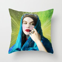 Mary Magdalene in green light Throw Pillow