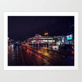Rainy City Nights Art Print