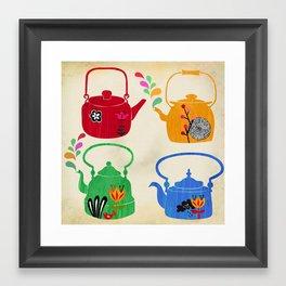 four vintage kettles Framed Art Print