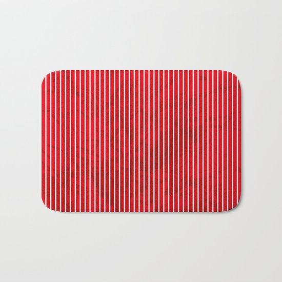 Red grunge stripes on white background Bath Mat