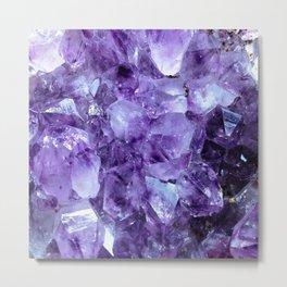 Amethyst Crystals Metal Print