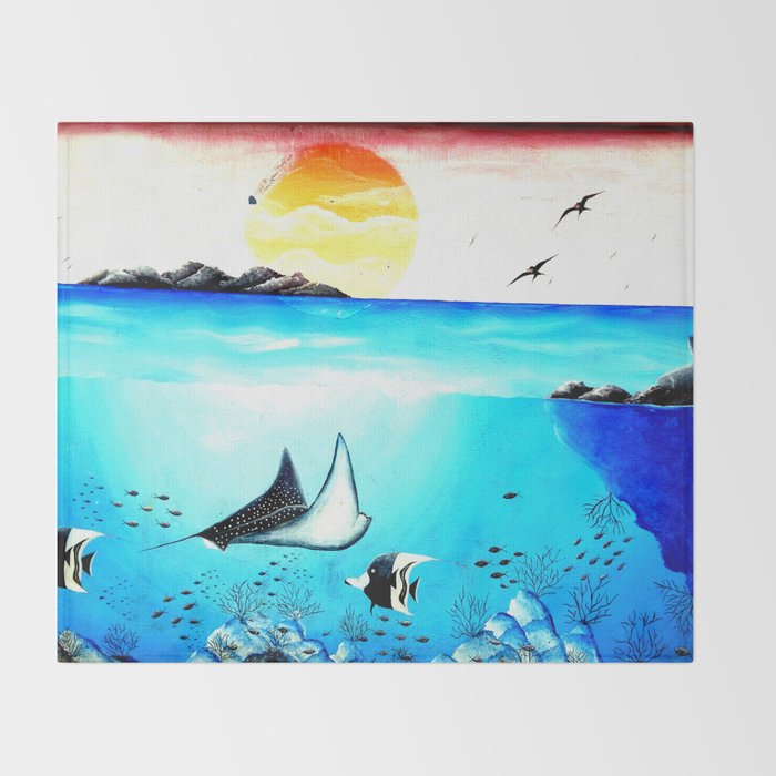 Beautiful Underwater Scene Painting Throw Blanket