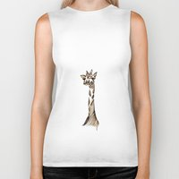 giraffe Biker Tanks featuring Giraffe by Ilariabp.art