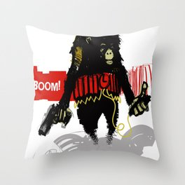 Monkey Go Boom Now Throw Pillow