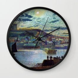 John Atkinson Grimshawn - Whitby Harbor - Digital Remastered Edition Wall Clock