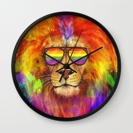 Rainbow Lion Pride Wall Clock