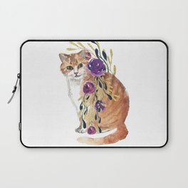 cat with flower boa Laptop Sleeve