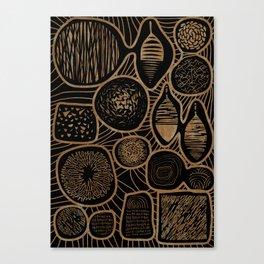 Vintage sepia pattern - linogravure style Canvas Print