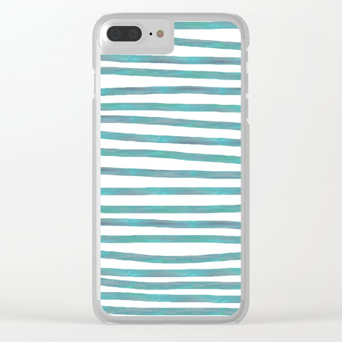 Ocean Green Hand-painted Stripes Clear iPhone Case