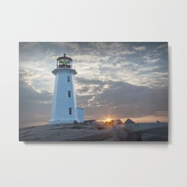 Sunrise at Peggys Cove Lighthouse in Nova Scotia Metal Print