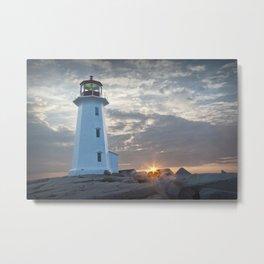 Sunrise at Peggys Cove Lighthouse in Nova Scotia Metal Print