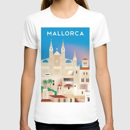 Mallorca, Spain - Skyline Illustration by Loose Petals T-shirt