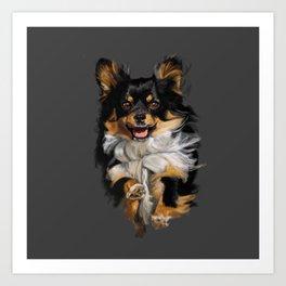 Long Hair Chihuahua On the Run Art Print