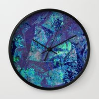 mineral Wall Clocks featuring Mineral  by M. Noelle Studios