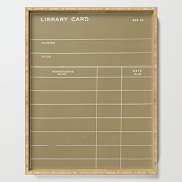Library Card BSS 28 Negative Brown Serving Tray