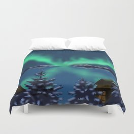Winter Northern Lights Duvet Cover