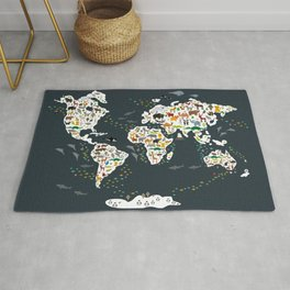 Cartoon animal world map for kids, back to school. Animals from all over the world Rug