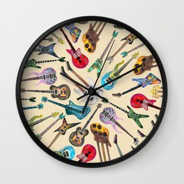 Electric Guitars Pattern Watercolor Wall Clock
