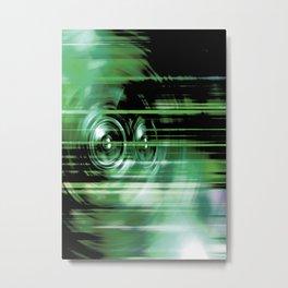 Green music speakers Metal Print