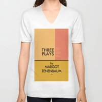 tenenbaum V-neck T-shirts featuring Three Plays By Margot Tenenbaum by FunnyFaceArt