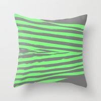 stripes Throw Pillows featuring Green & Gray Stripes by 2sweet4words Designs