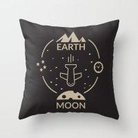 aviation Throw Pillows featuring Aviation: Earth to Moon by Gemaniq