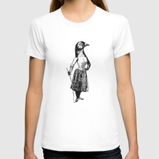 The Fencing Pigeon Womens Fitted Tee White SMALL