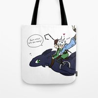 hiccup Tote Bags featuring Hiccup, Jack, and Toothless by Gio Garcia