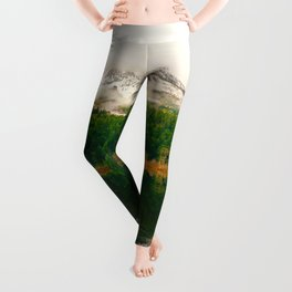 Mid Century Modern Round Circle Photo Graphic Design Reflective Snow Mountain Green Forest Leggings