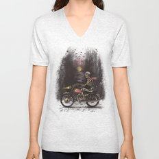 Death Rides in the Night Unisex V-Neck