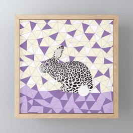Cute Purple Pastel Rabbit Leopard Pattern Design Framed Mini Art Print