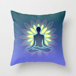 Yoga, Blue Yellow Throw Pillow