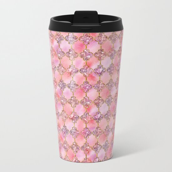 Luxury Gold and Pink Glitter effect oriental pattern on #Society6 Metal Travel Mug
