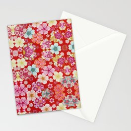 Crimson Floral Chirimen Stationery Cards