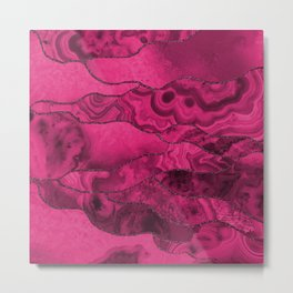 Pink Agate Marble Mineral Texture with Glittery Lines Metal Print