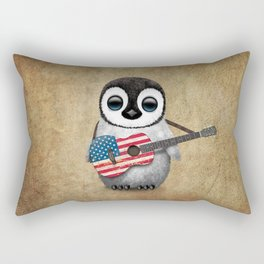 Baby Penguin Playing American Flag Acoustic Guitar Rectangular Pillow