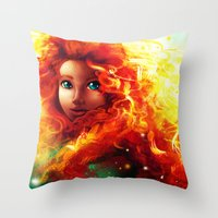 be brave Throw Pillows featuring Brave by Peach Momoko