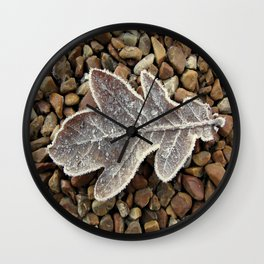 Frozen Leaf Wall Clock