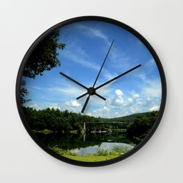Summer Cloud Parade Delaware River View Wall Clock