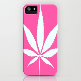 Weed: High Times Pink White Marijuana Leaf iPhone Case