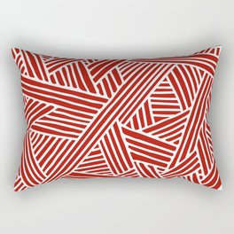 Abstract Navy Red & White Lines and Triangles Pattern Rectangular Pillow