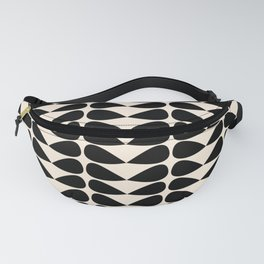 Mod Leaves Mid Century Modern Abstract Pattern in Black and Almond Cream Fanny Pack