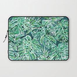 JUNGLE VIBES Green Monstera Watercolor Print Laptop Sleeve