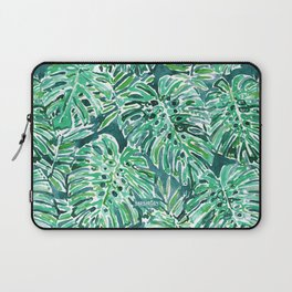 JUNGLE VIBES Green Monstera Watercolor Print Laptop Sleeve