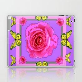 Lilac Art yellow Butterflies Rose Design Laptop & iPad Skin